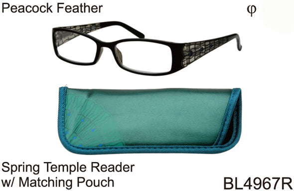BL4967R - Wholesale Women's Reading Glasses with Matching Pouch in Green