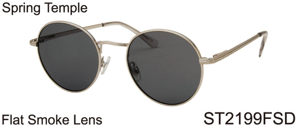ST2199FSD - Wholesale Metal Round Sunglasses in Silver