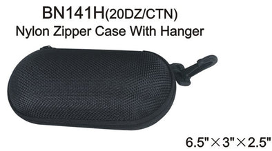 BN141H - Wholesale Pill Shaped Black Nylon Zipper Case with Plastic Hook in Black
