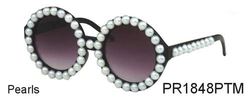 PR1848PTM - Wholesale Faux Pearl Round Sunglasses in Black