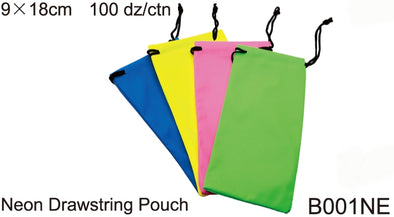 B001NE - Wholesale Neon Drawstring Pouch for Sunglasses in Neon Colors