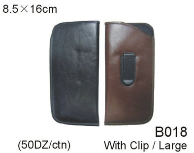 B018 - Wholesale Leatherette Sleeve Pouch with Clip for Large Eyeglasses in Black & Brown