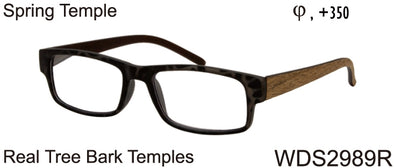 WDS2989R - Wholesale Men's Reading Glasses with Real Tree Bark Temples in Brown