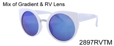 2897RVTM - Whoelsale Women's Round Cat Eye Sunglasses in White