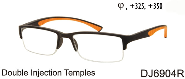 DJ6904R - Wholesale Men's Double Injection Faux Rimless Sport Reading Glasses in Black