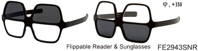 FE2943SNR - Wholesale Flippable Sunglasses and Reading Glasses Combo in Black