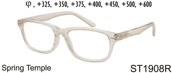 ST1908R - Wholesale Unisex Rectangular Reading Glasses in Translucent Clear