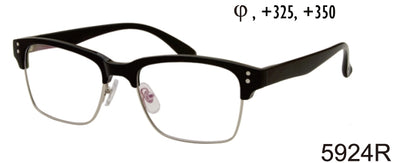 5924R - Wholesale Unisex Club Style Reading Glasses in Black