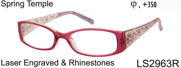 LS2963R - Wholesale Women's Classic Fashion Reading Glasses with Rhinestones and Engraving Design in Red