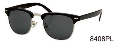8408PL - Wholesale Classic Club Style Polarized Sunglasses in Black