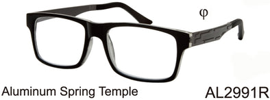 AL2991R - Wholesale Men's Aluminum Temple Reading Glasses in Black