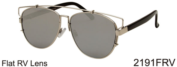 2191FRV - Wholesale Fashion Color Mirror Flat Top Sunglasses in Silver