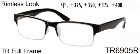 TR6905R - Wholesale Men's Rimless Reading Glasses made from TR-90 in Black