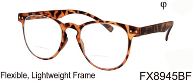 FX8945BF - Wholesale Keyhole Style Bifocal Reading Glasses with Flexible Frame in Tortoise
