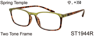 ST1944R - Wholesale Women's Two Tone Pattern Square Reading Glasses in Green