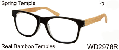 WD2976R - Wholesale Men's Reading Glasses with Real Bamboo Temples in Black