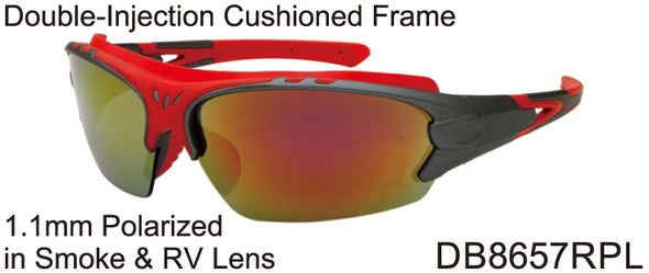 DB8657RPL - Wholesale Katalyst Double Injection Sport Sunglasses in Red