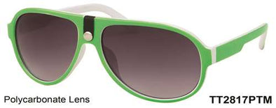 TT2817PTM - Plastic Aviator Two Tone Sunglasses in Green