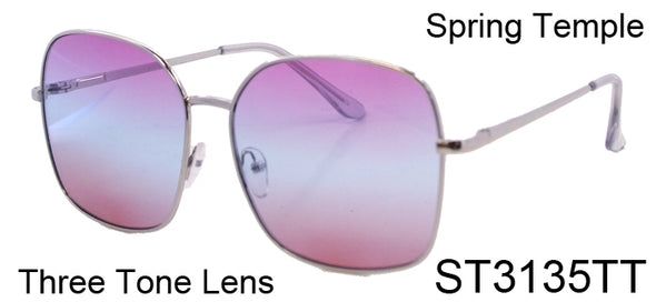 ST3135TT - Wholesale Women's Oversized Square Style Three Toned Lens Sunglasses in Silver