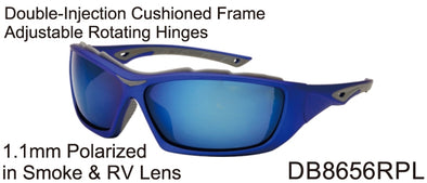 DB8656RPL - Wholesale Katalyst Double Injection Sport Sunglasses in Blue/grey
