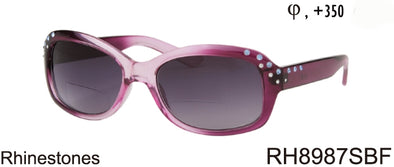 RH8987SBF - Wholesale Women's Rectangular Style BiFocal Reading Sunglasses with Rhinestone Frame in Purple