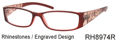 RH8974R - Wholesale Women's Old Fashion Rhinestone Reading Glasses in Red