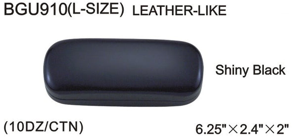 BGU910 - Wholesale Leather Like Black Rectangular Clam Case for Eyeglasses