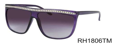 RH1806TM - Wholesale Rhinestone Flat Brow Sunglasses in Black