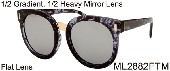 ML2882FTM - Wholesale Fashion Round Sunglasses in Black Grey