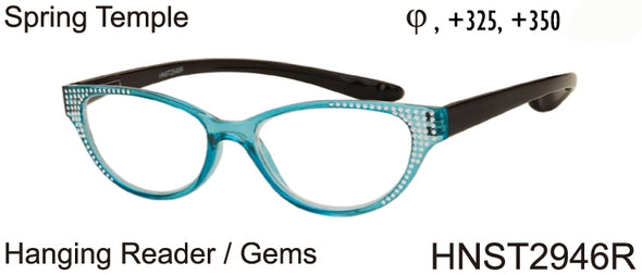 HNST2946R - Wholesale Women's Reading Glasses with Extended Neck Hanging Temples in Blue