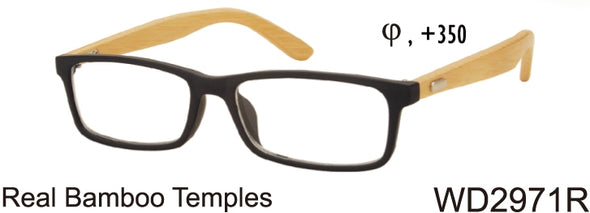 WD2971R - Wholesale Men's Reading Glasses with Real Bamboo Temples in Black