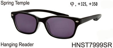 HNST7999SR - Wholesale Extended Temple Hanging Reading Sunglasses in Black