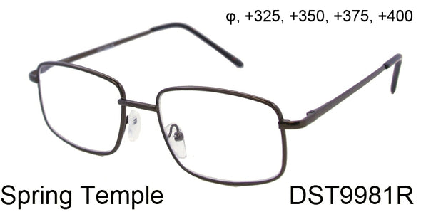 DST9981R - Wholesale Men's Rectangular Metal Reading Glasses in Black