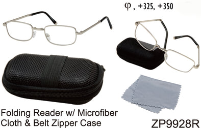 ZP9928R - Wholesale Metal Folding Readers with Case & Cleaning Cloth in Silver