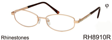RH8910R - Wholesale Women's Office Style Reading Glasses with Rhinestones in Gold
