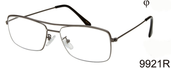9921R - Wholesale Men's Rectangular Style Metal Reading Glasses in Silver
