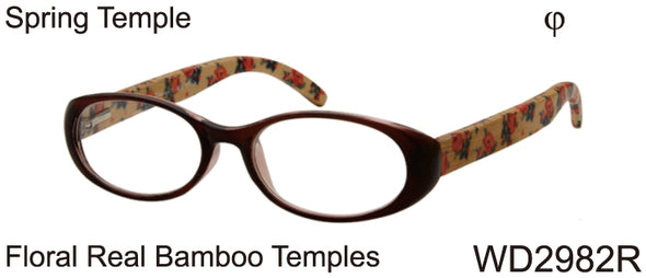 WD2982R - Wholesale Women's Oval Reading Glasses with Real Bamboo Temples in Black