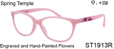ST1913R - Wholesale Women's Engraved Flower Style Reading Glasses in Pink