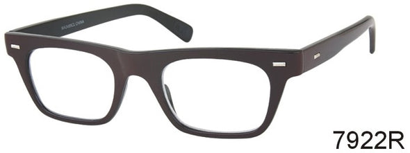 7922R - Wholesale Men's Fashion Flat Top Reading Glasses in Brown