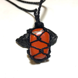 tumbled red jasper macrame necklace