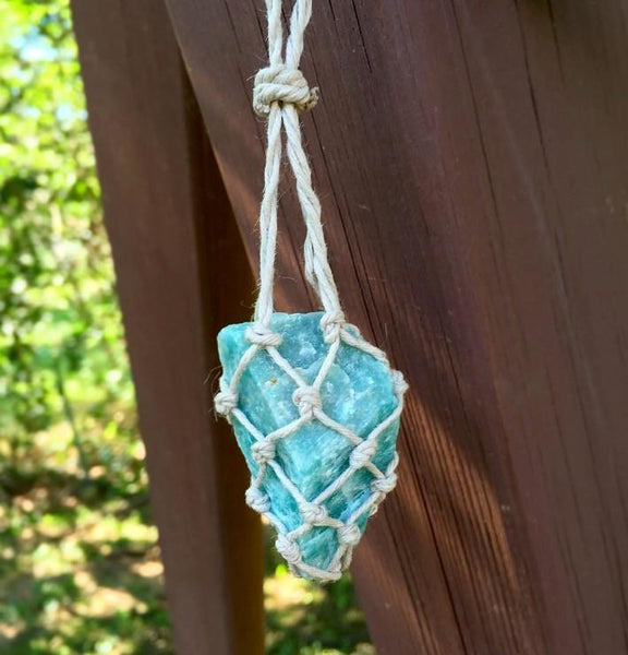 amazonite hemp necklace macrame