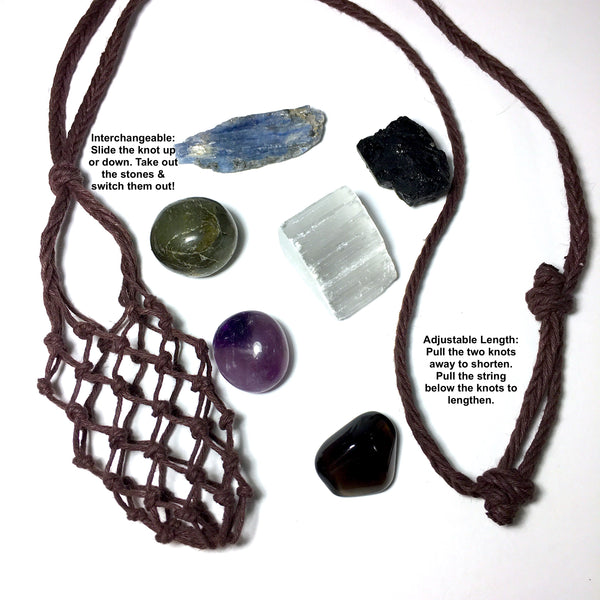 energy protection, shielding crystals hemp pouch necklace with blue kyanite, black tourmaline, selenite, amethyst, labradorite, apache tears by chrizzastknes