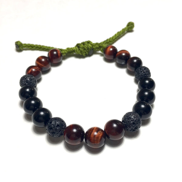 Red Tiger Eye, Black Agate, Lava Beaded Bracelet