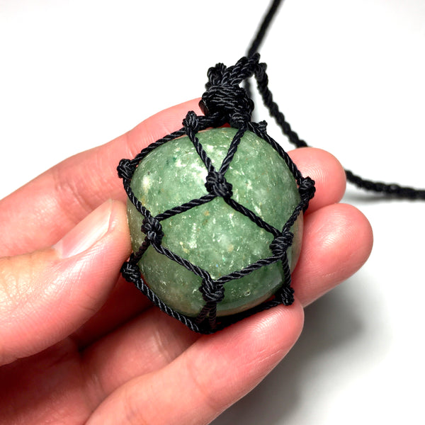 green aventurine macrame net necklace