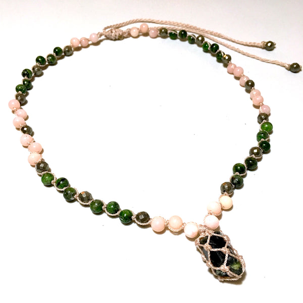 Chrome Diopside Short Beaded Necklace