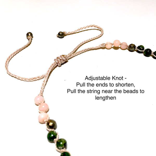 pink opal, pyrite, chrome diopside beaded necklace adjustable length
