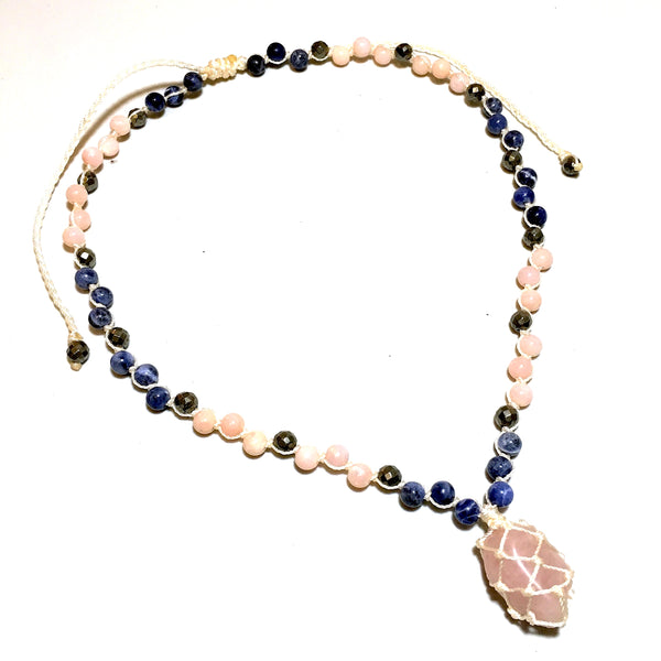 Rose Quartz Short Beaded Necklace
