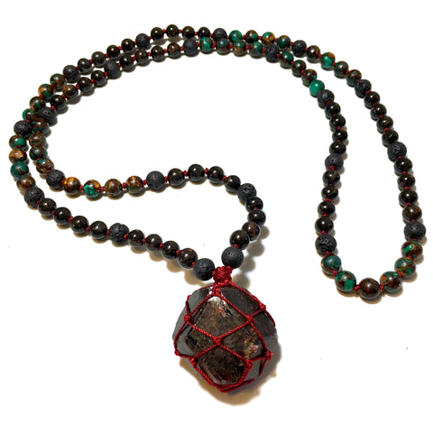 mala beads macrame necklace garnet