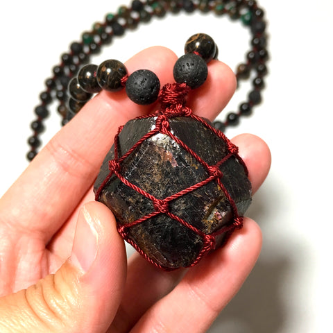 garnet lava obsidian malachite beads necklace