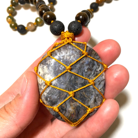 pietersite macrame necklace